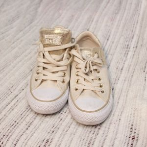 EUC-Converse All-Star Cream and Gold shoes -Size 8
